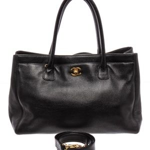 Chanel Black Leather Executive Cerf Tote w/Strap